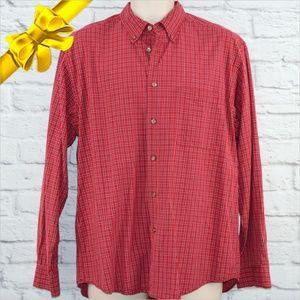 Izod Red Plaid Button Down Shirt ~b0eu6p1z